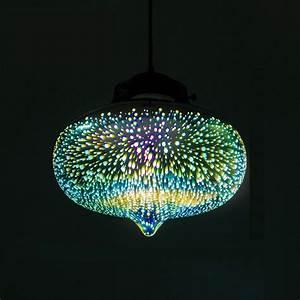 Decorative d glass shade colored pendant light