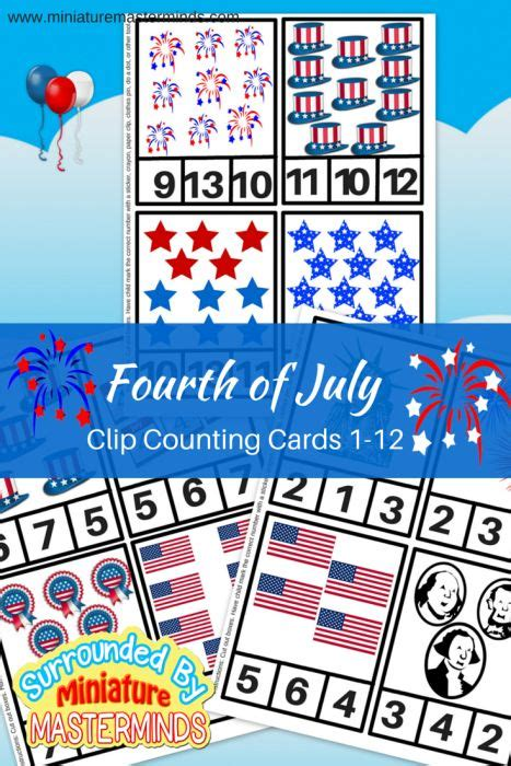 free printable fourth of july clip counting cards 1 12 508 | 9b0258c6d0fc586c72fb36953fdff984