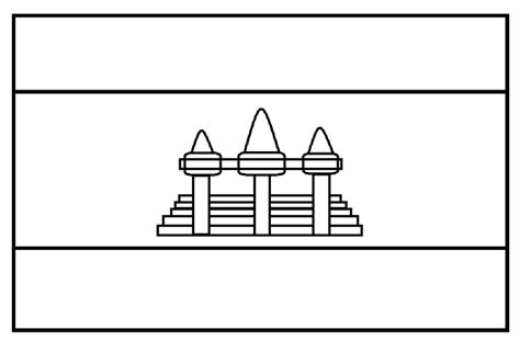 mewarnai gambar mewarnai gambar sketsa bendera negara kamboja
