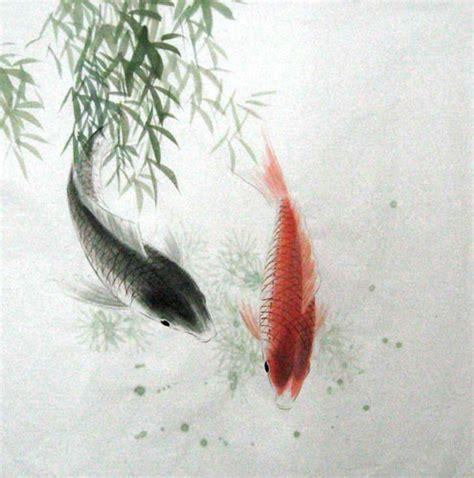 chinese koi fish painting   cm  cm