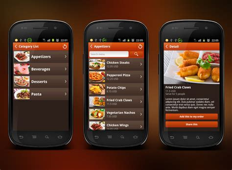 application cuisine android mobile restaurant mobile app development company