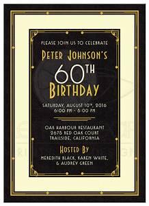 Man's 60th Birthday Invitation Black Gold Art Deco