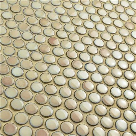 london beige cream penny  glossy porcelain mosaic tile