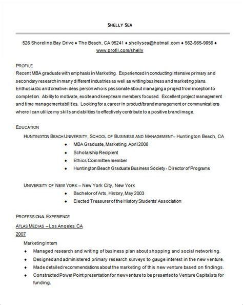 mba resume template 11 free sles exles format
