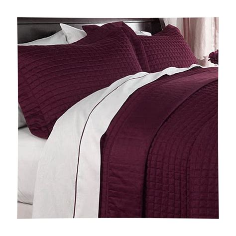 Contemporary Quilts And Coverlets by Hotel Modern Reversible Solid Burgundy Quilt Coverlet