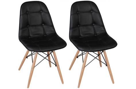 chaises capitonnées pas cher lot de 2 chaises lofi capitonnées design pieds bois noirs