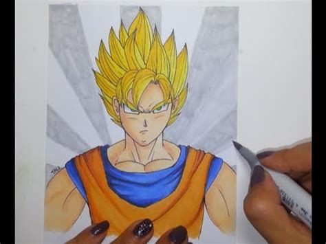 drawing super saiyaan goku copic markers speed paint