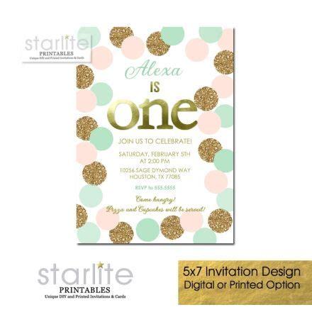 Blush Pink Mint and Gold Glitter 1st Birthday Invitation