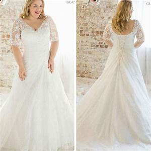 2016 new plus size lace short sleeve wedding dress white With size 24 wedding dress cheap