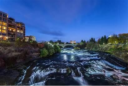 Spokane River Sky Stream Running Rise Beside