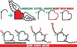 How to Draw Heart with Wings from Lowercase Letter r ...