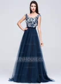 designer dresses a line princess scoop neck sweep tulle prom dress with beading appliques lace sequins