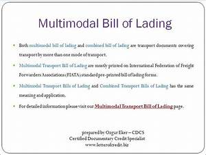 Letter of credit documents multimodal transport bill of for B l documents