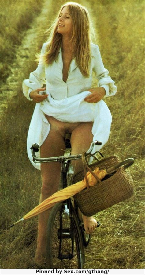 vintage women riding bike with no panties gthang