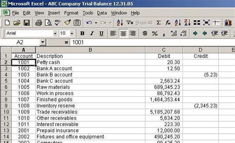 trial balance excel template sample project
