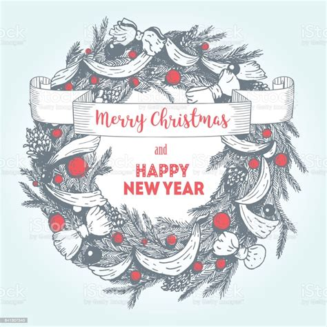 Vector Merry Christmas And Happy New Year Hand Drawn