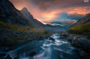 Viewes, Romsdalen, Valley, Norway, Fog, Stones, Mountains