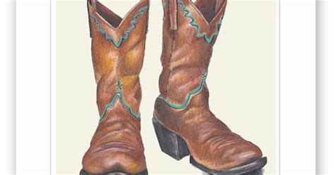Cowboy Baby Decor by Cowboy Boots Colored Pencil Drawing By Wlforbaby On Etsy