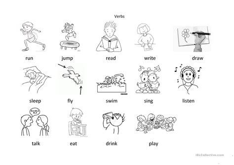 verbs  colouring worksheet  esl printable