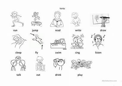 Verbs Colouring English Worksheets Esl Screen Reading
