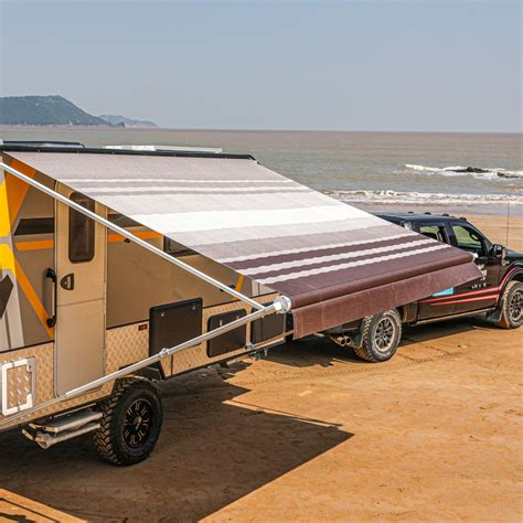 aleko retractable rv  home patio awning brown stripes color ft  ft ebay