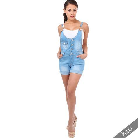 Womens Denim Skinny Stretch Jeans Dungaree Mini Dress Shorts Playsuit Romper | eBay