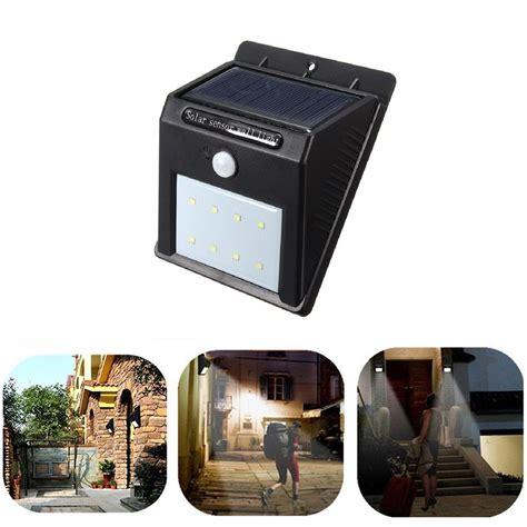 8 led solar power pir motion sensor wall light outdoor