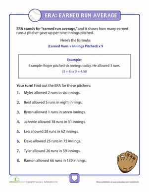 calculating era  baseball worksheet educationcom