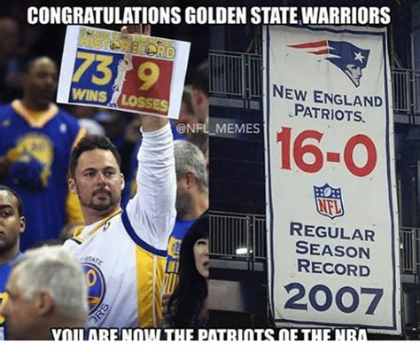 Funny New England Patriots Memes - congratulationsgolden statewarriors new england wins losses patriots memes 16 o regular season