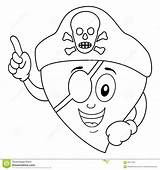 Patch Eye Pirate Heart Coloring Cartoon Character Funny Hat Illustration sketch template