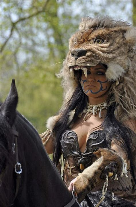 warrior female barbarian celtic lion wild cosplay memes warriors woman animals elf fantasy larp blood head easy princess amazon him