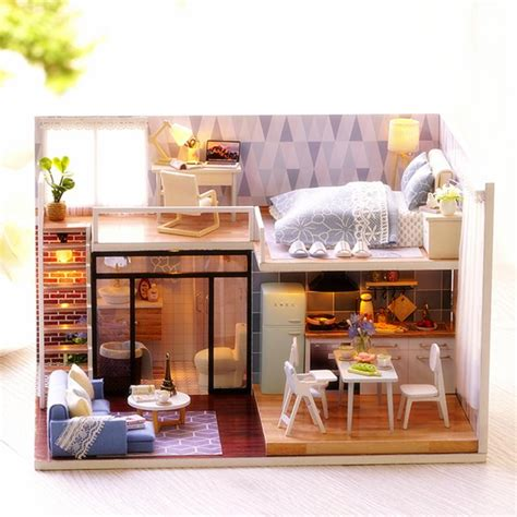 cute room diy doll house  furniture led light