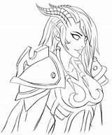 Warcraft Geisha Lineart Paladin Silmara Sylvanas Windrunner Draenei sketch template