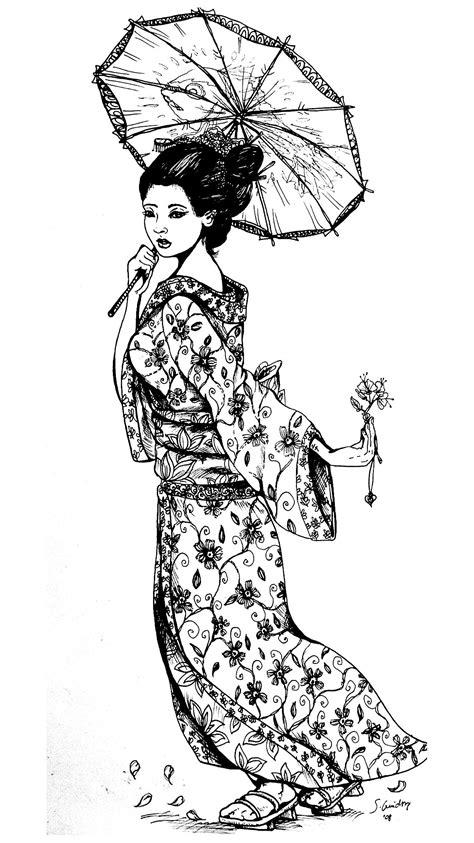 geisha japan tattoo japan adult coloring pages