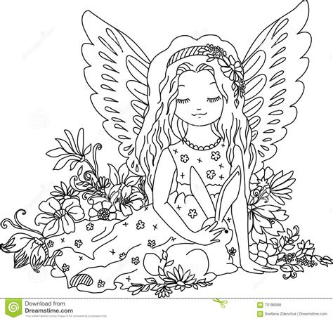 cute angel  bunny coloring book illustration stock