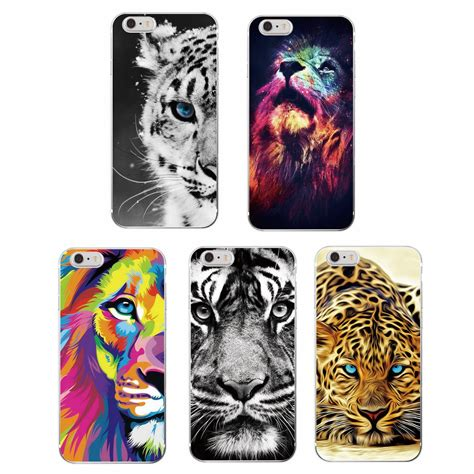 fashion lion tiger panther leopard soft tpu case coque fundas  iphone