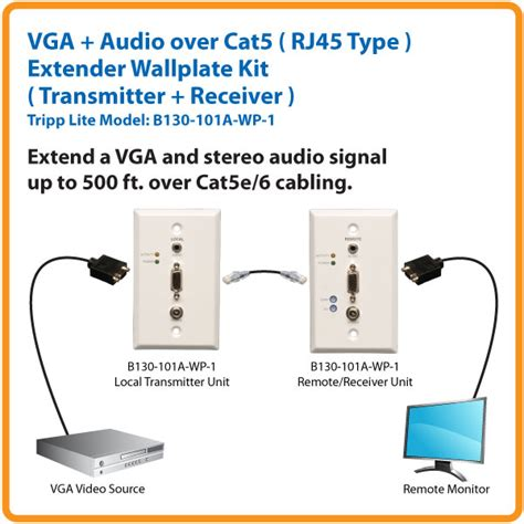 Cat 5 Wiring For Speaker by Tripp Lite Vga With Audio Cat5 Cat6