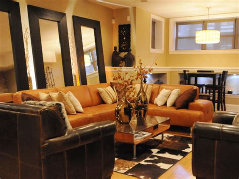 brown and orange living room serenity in design fall colors