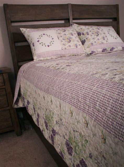 shabby chic quilt sets patchwork queen quilt set lavender garden chic shabby purple lilac chsbahrain com