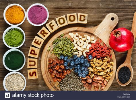 Superfoods as acai powder, turmeric, matcha green tea