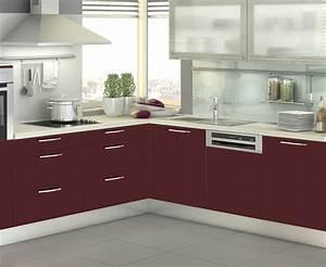 plan de travail cuisine rouge inspiration dco photo With cuisine rouge plan de travail noir