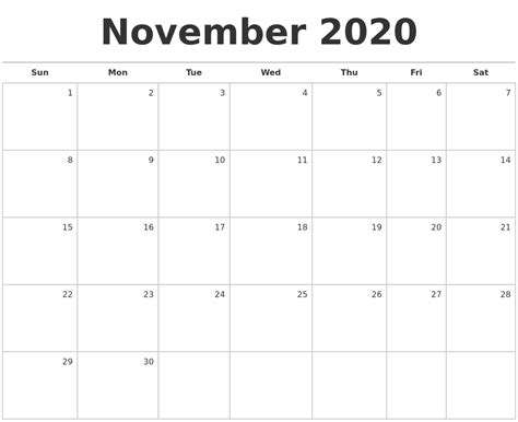november blank monthly calendar