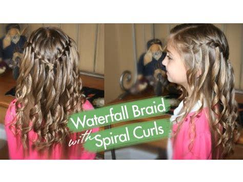 waterfall braid  spiral curls prom hairstyles cute