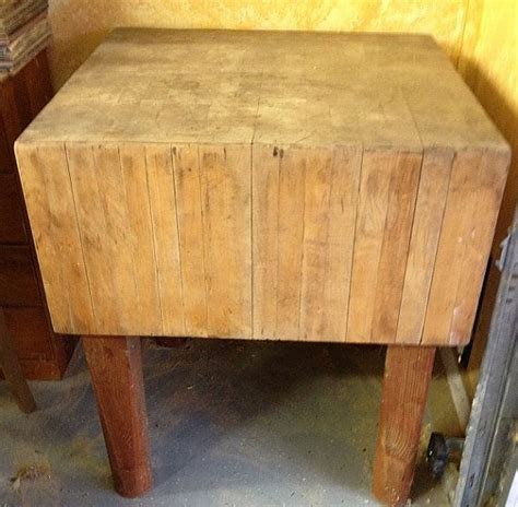Make Offer Antique Solid Wood Butcher Block Island, Table
