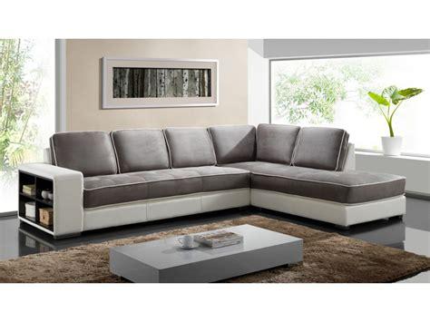 canapé blanc tissu canapé d 39 angle tissu et simili noir ou blanc randy