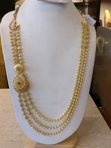 multilayer gold haram with peacock side locket south india jewels