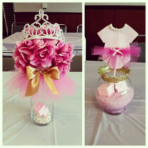 centerpiece for baby shower tutus tiaras baby shower centerpieces pinkandgold my diy projects pinterest baby