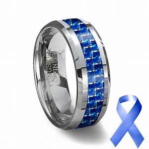 Blue carbon fiber tungsten wedding ring for Carbon fibre wedding ring