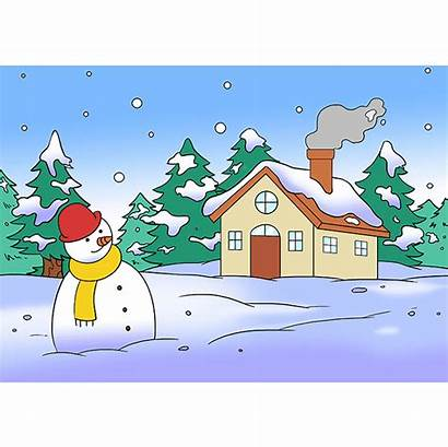 Winter Scenery Draw Drawing Scene Easy Step