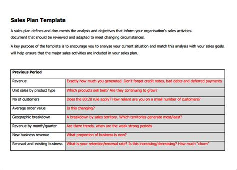 sample sales plan template   documents